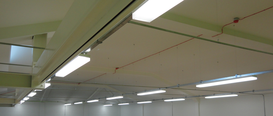 rows of industrial ceiling lights